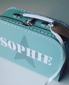 koffertje met naam, kinderkoffertje, kinderkoffertjes, naamkado cadeau met naam, koffertje bedrukken